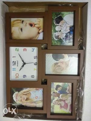 Brown Photo Frame With Clock