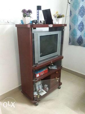 Brown Wooden TV Stand with LG Flatron TV