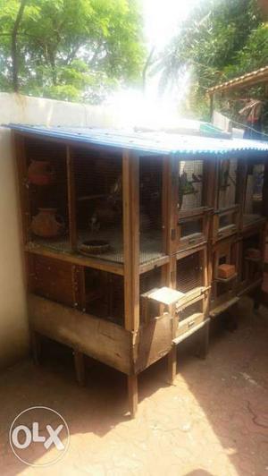 Brown Wood-framed Chicken Coop