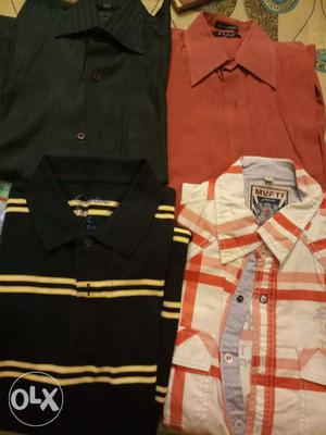 4 shirts red rs50,Orange white Rs50,party