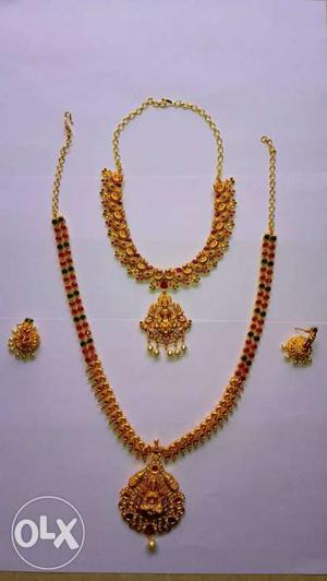 Gold Plated Polish Imitation Jewellery Necklace Set For Sale