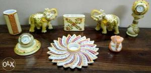 Home décor items in white marble