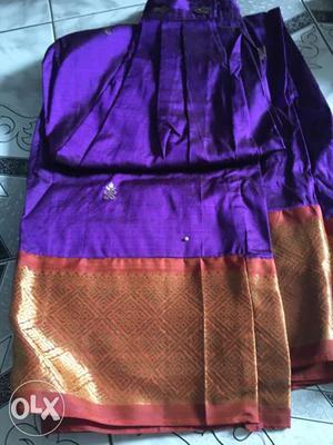 Pure pattu pavadai for 12 yrs blue colour