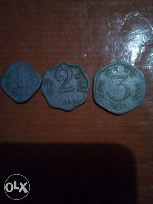 1, 2 And 3 Indian Paise Coins with diffrent shape