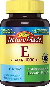 Nature Made Vitamin E IU Softgels, 60 Count