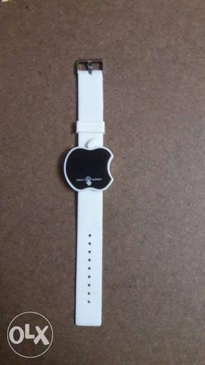 Apple-shaped White And Black Watch With White Strap