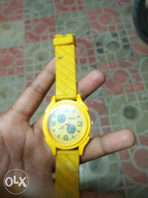 Round Yellow Chronograph Watch With Yellow Band