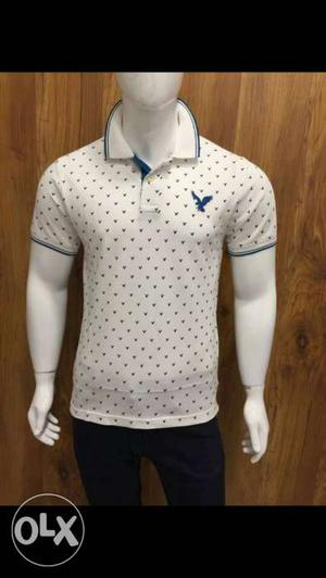 White And Blue American Eagle Polo Shirt
