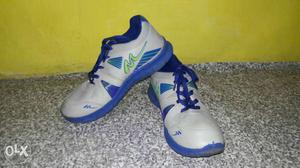 White-and-blue Athletic Shoe S