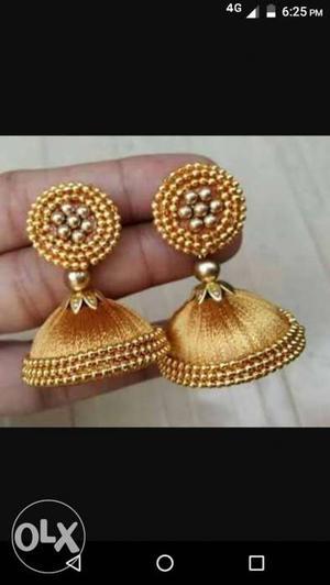 Brown Silk Thread Jhumka Earrings Screenshot