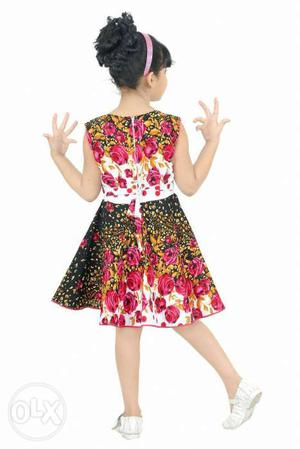 Girl's Black, White And Pink Floral Sleeveless Dress