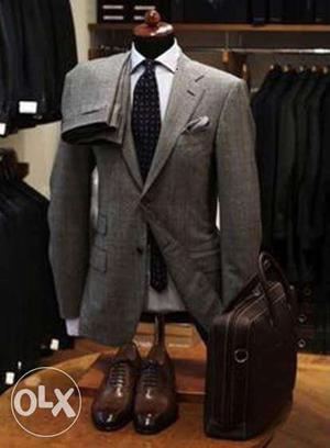 Gray Notch Collar Suit Jacket, Gray Dress Pants,