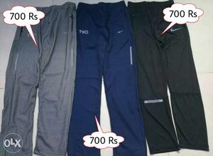 Three Grey, Blue, And Black Drawstring Pants