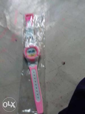 White And Pink Digital Watch Package
