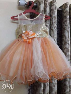 Princess style peach color frock