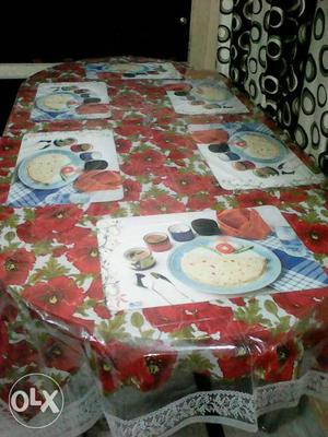 Red, White, And Green Floral Table Mat