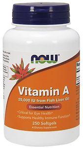 Vitamin A (Fish Liver Oil)  IU 250 Softgels - NOW Foods
