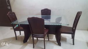 Wooden Dining Table Set with Four Chairs
