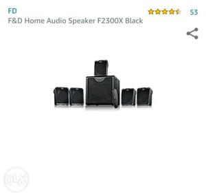 Black 5 in 1 F&D audio Home theatre FX Black