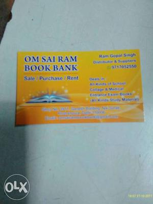 Om Sai Ram Book Bank Calling Card