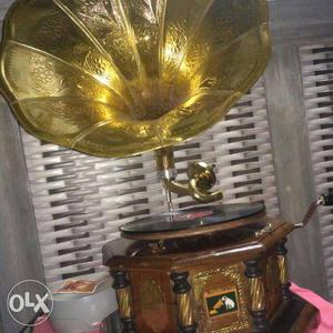 Brown And Gold Colored Gramophone