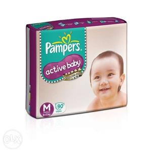 2 packs of pampers active baby medium sized 90