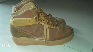 Pair Of Brown Nike air force Shoes