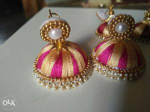 Pair Of Jeweled Pink And Brown Silk Thread Jhumka Earrings