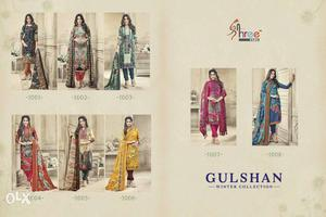 Printed Pashmina suits with shawl