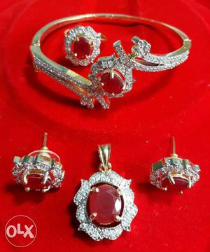 Silver, Diamond, And Ruby Stone Encrusted Bracelet, Pendant,