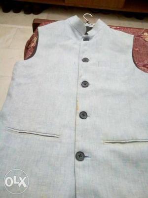 Sky blue khadi silk Nehru jacket