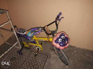 Children's Purple And Pink Bicycle With Training Wheels