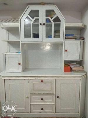 White Wooden Cabinet With Hutch