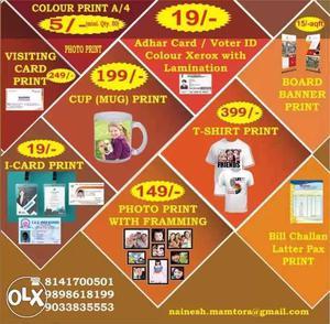 All types printing visiting card i card bill book