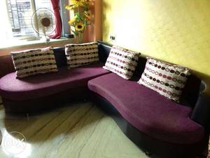 Purple And Black Sectional Couch With Throw Pillows and tee