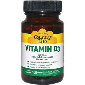 Country Life, Vitamin D IU, 100 Softgels CLF-
