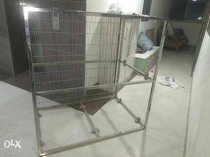 Stainless still fabricated Dog house. one side