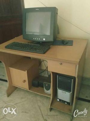 Brown Wooden Computer Desk With Desktop Computer Set