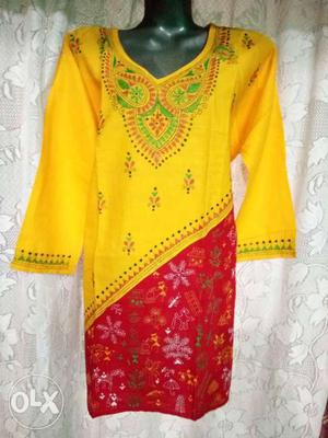 Its a stich hand crafted cotton kurtis for ladies