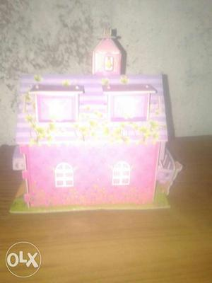 Pink And White Plastic Barn Table Decor