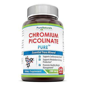 Pure Naturals Chromium Picolinate Supplement, 200 Mcg, 240