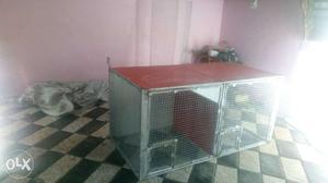 Rectangular Gray Metal Chicken Coop