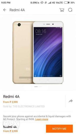 Redmi 4a gold colour good condition 2gb 16gb,