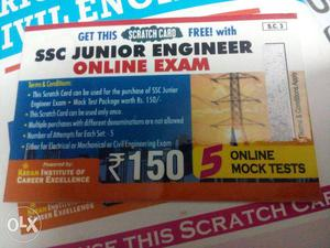 SSC JE mock test scratch card
