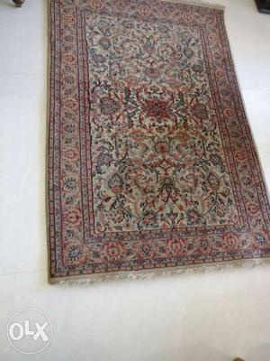 "68"" by 48"" pure wool, genuine Kashmir carpet,"