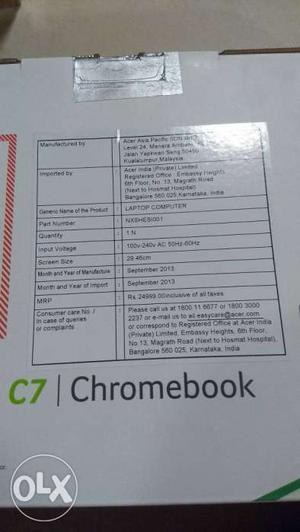 Acer Chromebook C7 call 993o