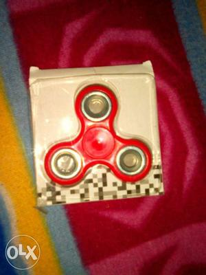 Red And Gray Fidget Hand Spinner With Box