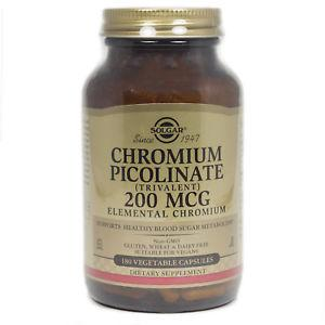 Chromium Picolinate 200 mcg Vegetable Capsules By Solgar -