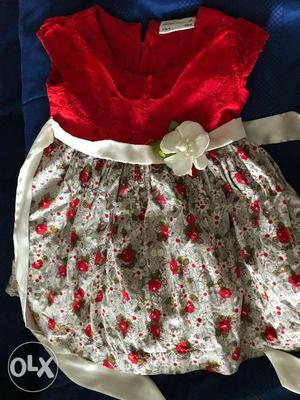 Baby girl's beautiful bright red and floral