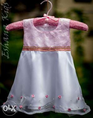 Baptism set 1. Baptism Gown In pink net and white